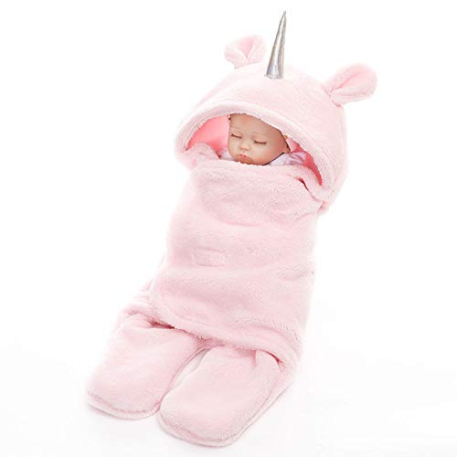 Fabric Fleece Baby - Baby Hooded Pajamas Unicorn/Monthly Milestone Blanket|Swaddle Sleeping Bag/Sack|Velcro Pink Mint Grey|Premium Quality Sherpa Fleece for Newborn Infant Toddler 0-12 Months|Perfect for Baby Shower Gift