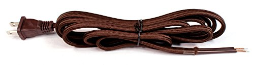 (Creative Hobbies Brown Rayon Cloth Covered Electric Lamp Cord with End Plug, Stripped Ends Ready for Wiring -8 Foot, SPT-2 UL Listed)