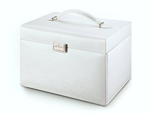 Vlando Faux Leather Jewelry Box Organizer, 6 Colors Available, Vintage Gift Case (White) by Vlando (Image #2)
