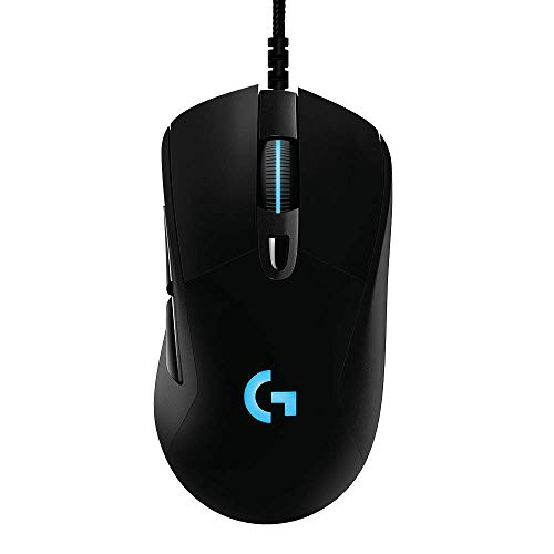 Logitech G403 Hero 16K Gaming Mouse, Lightsync RGB, Lightweight 87G+10G Optional, Braided Cable, 16, 000 DPI, Rubber Side Grips