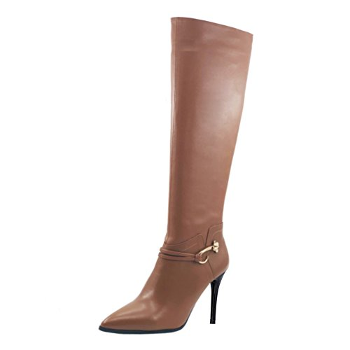 High Metal Zip Boots VOCOSI Pointy Women's Classic High Knee Leather Boot Dress Toe Side With Brown Riding Buckle Heels T7Tt8qH