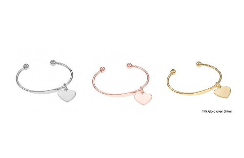 8mm Designer Inspired SILVER / ROSE GOLD / YELLOW GOLD Heart ID Ball Bead Cuff Bracelet: Width 55mm x 45mm (2.15in x 1.77in) (SILVER)
