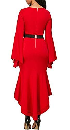 Campana Manicotto Lungo Basso Promenade Qianqian Lungo Del Rosso Donne O Collo Bordo Vestito Sexy au Alto qWZSO7
