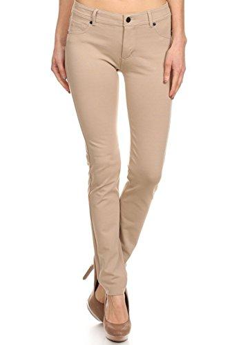Women's Juniors Full Length Low Rise Skinny Slim Jeans Khaki