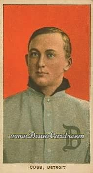 T206 Card (1909 T206 Reprint # 98 RED Ty Cobb Detroit Tigers (Baseball Card) (Portrait Red Background) Dean's Cards 8 - NM/MT Tigers)