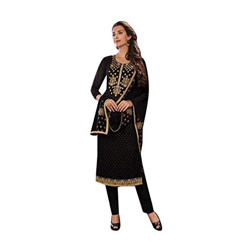 (Black Indian Ethnic Designer Georgette Churidar Salwar Kameez Suit Muslim Women Party wear Semi-stitch)
