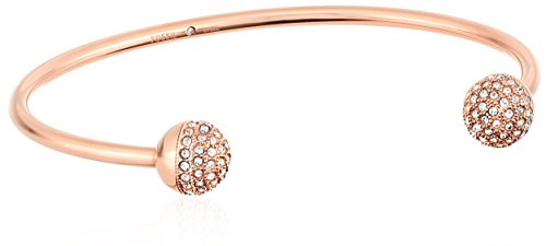 (Fossil Rose Gold Tone Pave Ball Cuff Bracelet)