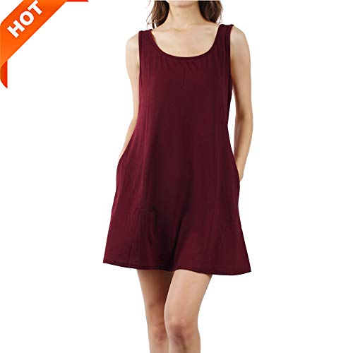 Mifidy T Shirt Dress for Ladies, Two Side Pockets Plain Loose Light Pleated Swing Casual Work Beach Party Night Out Dress Daily Summer Dress(Medium,Wine) ()
