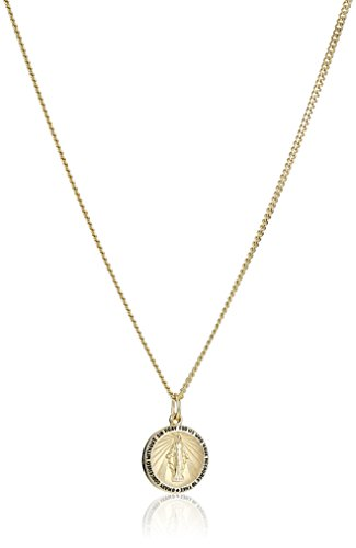 - 14k Gold-Filled Round Miraculous Medal Madonna Pendant Necklace with Stainless Steel Chain, 20