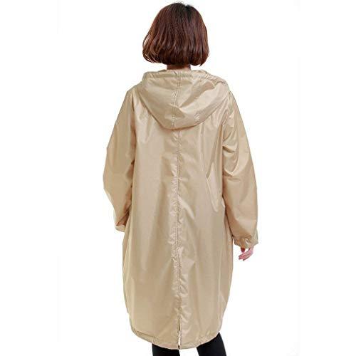 All'aperto Ms Cerniera Con Portatile Tempo Style Coat Per Festa E Coulisse Light Khaki Raincoat Adulti Libero Poncho Trench Il OI6Fq7