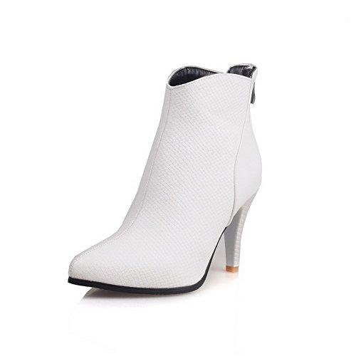 Allhqfashion Para Mujer Cerrado Con Punta Cerrada Low-top High-heels Solid Pu Botas Blanco