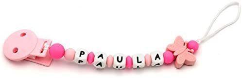 Attache T/étine Personnalisee Silicone Anneau de dentition Attache Sucette Personnalisee mami me mimaButterfly Pink+Pink
