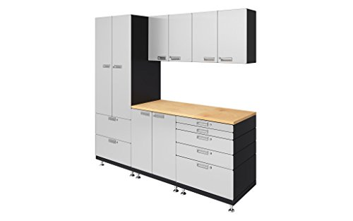 "Hercke Kit 3 Work Center Garage Cabinet System – 10 Piece Powder Coated Modular Storage Cabinets with Maple Work Top (24""D x 90""W x 84""H) 