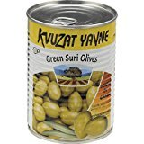 Kvuzat Yavne Green Suri Olives Whole In Garlic KFP 19 Oz. Pk Of 6.
