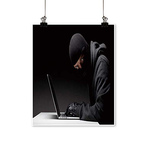 Artwork for Living Room Decorations Computer Hacker in a Balaclava Working in The Darkness Stealing Data and Personal on Canvas Wall Art for Home,24