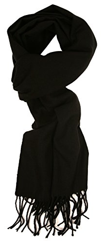 Love Lakeside-Men's Cashmere Feel Winter Solid Color Scarf 00-0 Black