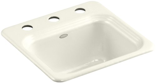 - Kohler K-6579-3-96 Northland Self-Rimming Entertainment Sink with Three-Hole Faucet Drilling, Biscuit