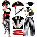 Pirate Costume Kids Deluxe Costume Pirate Dagger Compass Earring Purse for Halloween Party (S)]()