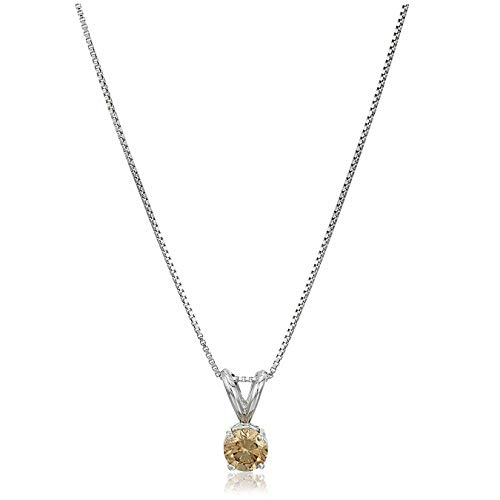 Vir Jewels 1 cttw Champagne Diamond Solitaire Pendant Necklace 14K White Gold