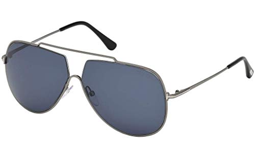 2018 Tom Ford Chase-02 FT0586 12V Men Gunmetal Metal Top Brow Bar Aviator Sunglasses