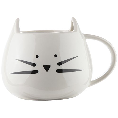 Home-X - Ceramic Cat Coffee and Tea Mug, The Perfectly Fun Kitchenware Gift for All Cat Lovers for Any Occasion at Any Meal, White