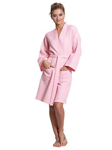 Turkuoise Linen Lightweight Knee Length Waffle Kimono Bath and Spa ()