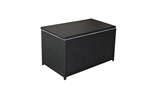 Mcombo Wicker Deck Storage Box Patio Furniture Pool Toy Container (Black Deck Box)