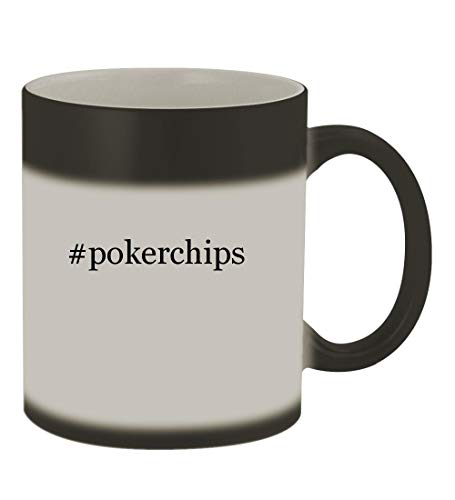 #pokerchips - 11oz Color Changing Hashtag Sturdy Ceramic Coffee Cup Mug, Matte Black