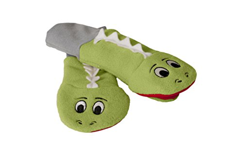 Stay On Sputtens Sock Puppet Mittens, Water Resistant Fleece, Green, Raz & Lou - LARGE (For young kids. measure 13 in. from fingertips to elbow)