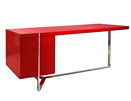 67u0026quot; Red Textured Lacquer U0026 Stainless Steel Modern Office Desk