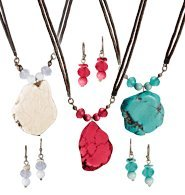 - Natural Elements Necklace and Earrings Set (Blue)