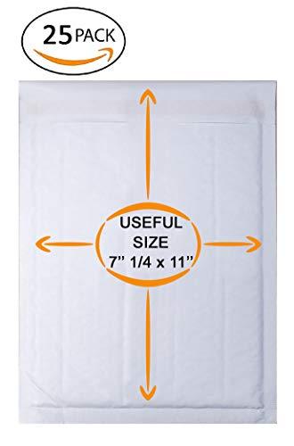 25 Pack White Kraft Padded envelopes 7.25 x 11 White Kraft Bubble Mailers 7 1/4 x 11 Peel and Seal. White Shipping mailers. Cushion envelopes for mailing, Packing, Packaging. Bulk ()