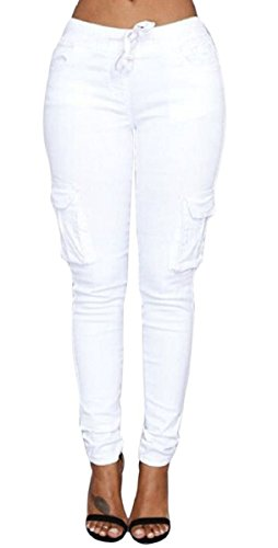 C.X Trendy Women's Solid Stretch Drawstring Casual Skinny Cargo Pants