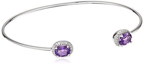 Sterling Silver Oval Amethyst Halo Diamond Accent Bangle Cuff Bracelet (1/10cttw, I-J Color, I2-I3 Clarity) (Diamond Oval Bangle)