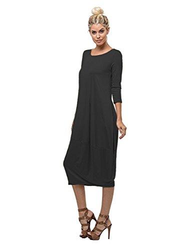 4 Dress 3 Grey Neck Round Pocket Women's Charcoal In Hem Love W Sleeve Long Bubble wxStn
