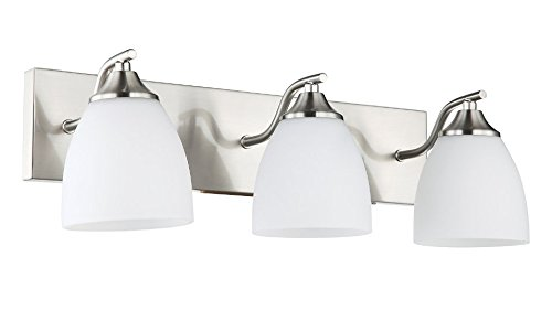 OSTWIN 3-Light Bath Bar Light Up or Down, Interior Bathroom Vanity Wall Lighting Fixture VF42, 3x60 Watt E26 Socket, Satin Nickel Finish with Opal Oval Cone Glass Shade, UL Listed by OSTWIN (Image #1)