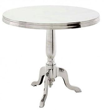 Casa Padrino Designer Luxus Esstisch Rund Silber Höhe 74 Cm