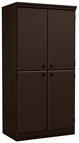 South Shore Tall 4-Door Storage Cabinet with Adjustable Shelves, Chocolate