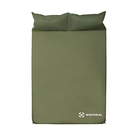 "Winterial Double Self Inflating Sleeping Pad with Pillows, Camping, Backpacking, Travel, 2 Person 1 THE ULTIMATE 2 person Sleeping Pad / Designed for 2 people / Convenient and Portable double sleeping pad FEATURES 2 built in pillows / Optimum Sleep / Less items to pack / Space Saving while you are traveling and in the tent. Camping made easy! DIMENSIONS: 72.8"" x 51.2"" x 1.2"" / Overall weight of 5.5 lbs! The lightweight solution to other competing double sleeping pads!"