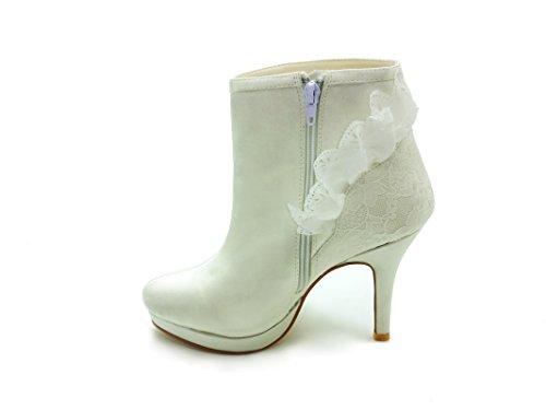 Bottes forme Chaussures Mariée Plate Jia Mariage De Talon Fermé De Jia 37018 Femmes Ivoire Aiguille Satin Orteil Des Zipper Dentelle Chaussures De zx0tawq