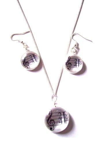 Gemas de Inglés agudos clef música colgante collar y pendientes de gota con caja de regalo