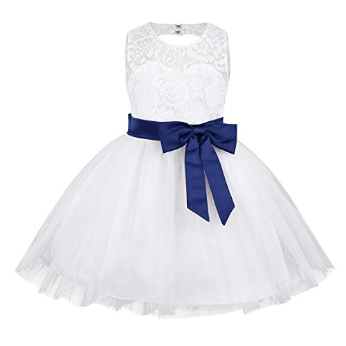 inlzdz Flower Baby Girl Dress Sleeveless Lace Heart Cutout Back Baptism Christening Tutu Dress Up Navy Blue 18-24 Months