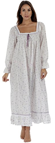 The 1 for U Martha Nightgown 100% Cotton Victorian Style - Sizes XS - 3X ... (Large, Lilac Rose) ()