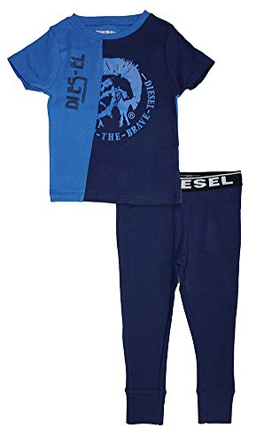 Diesel Sleepwear Boys' Big Short Sleeve T-Shirt and Jogger Sleepwear Set, Palace Blue/Navy, 14/16 Diesel Kids Boys Clothing