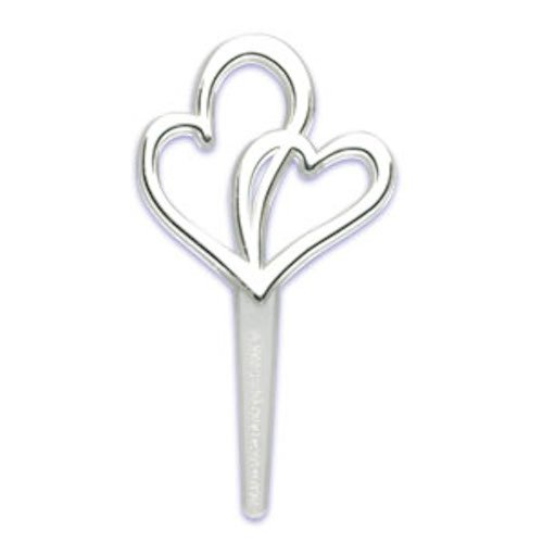 Silver Double Hearts Wedding Cupcake Topper Picks - Set of 12