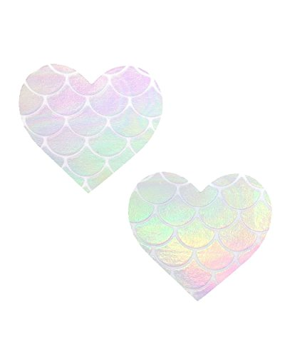 iHeartRaves Mystical Mermaid Iridescent Holographic Heart Pasties Nipple Covers Iridescent Glitter Top