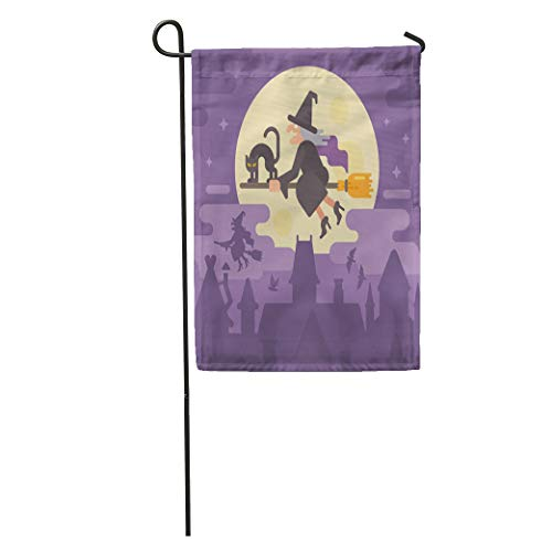Semtomn Garden Flag Old Witch Flying on Broom Black Cat Over The Night Home Yard House Decor Barnner Outdoor Stand 12x18 Inches Flag