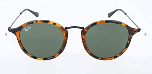 Ray-Ban RB2447 Round Fleck Sunglasses, Spotted Black Tortoise/Green, 49 ()