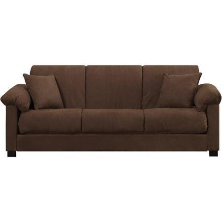 Montero microfiber convert a couch sofa bed dark brown for Montero convert a couch sofa bed