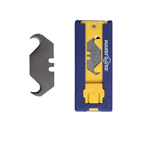 (MANUFORE Hook Utility Knife Blades With Plastic Dispenser, 20 pieces)